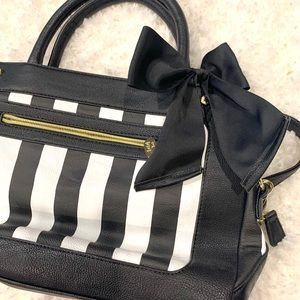 Betsey Johnson Black & White Striped Bow Purse